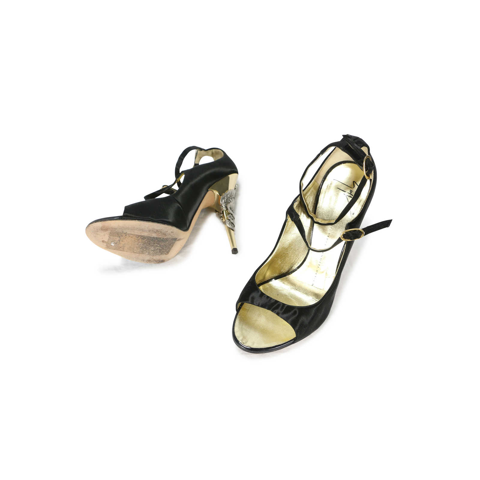 bfaa0ec5825e4 ... Authentic Second Hand Giuseppe Zanotti Wrapped Leaf Gold Heel Peep Toes  (PSS-200- ...