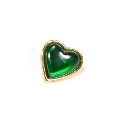 Authentic Vintage Yves Saint Laurent Glass Heart Brooch Green (TFC-203-00034)