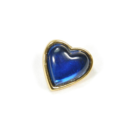 Authentic Vintage Yves Saint Laurent Glass Heart Brooch Blue (TFC-203-00035)