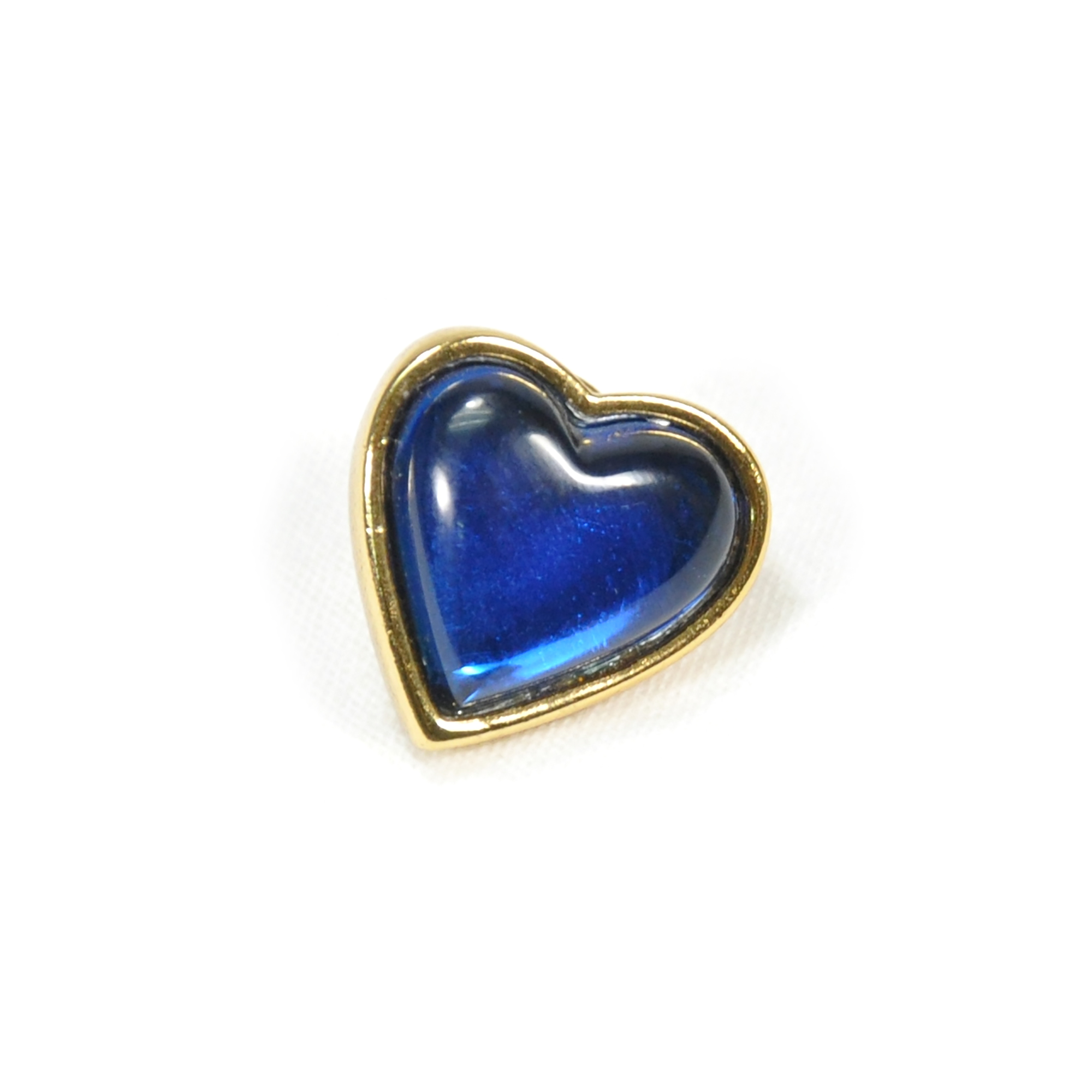 2ad127ba00f Authentic Vintage Yves Saint Laurent Glass Heart Brooch Blue  (TFC-203-00035) - THE FIFTH COLLECTION