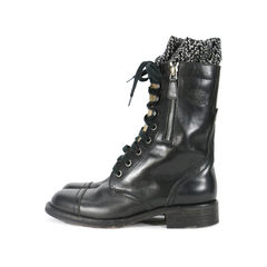 Chanel cc logo wool trim leather riding lace up boots 1