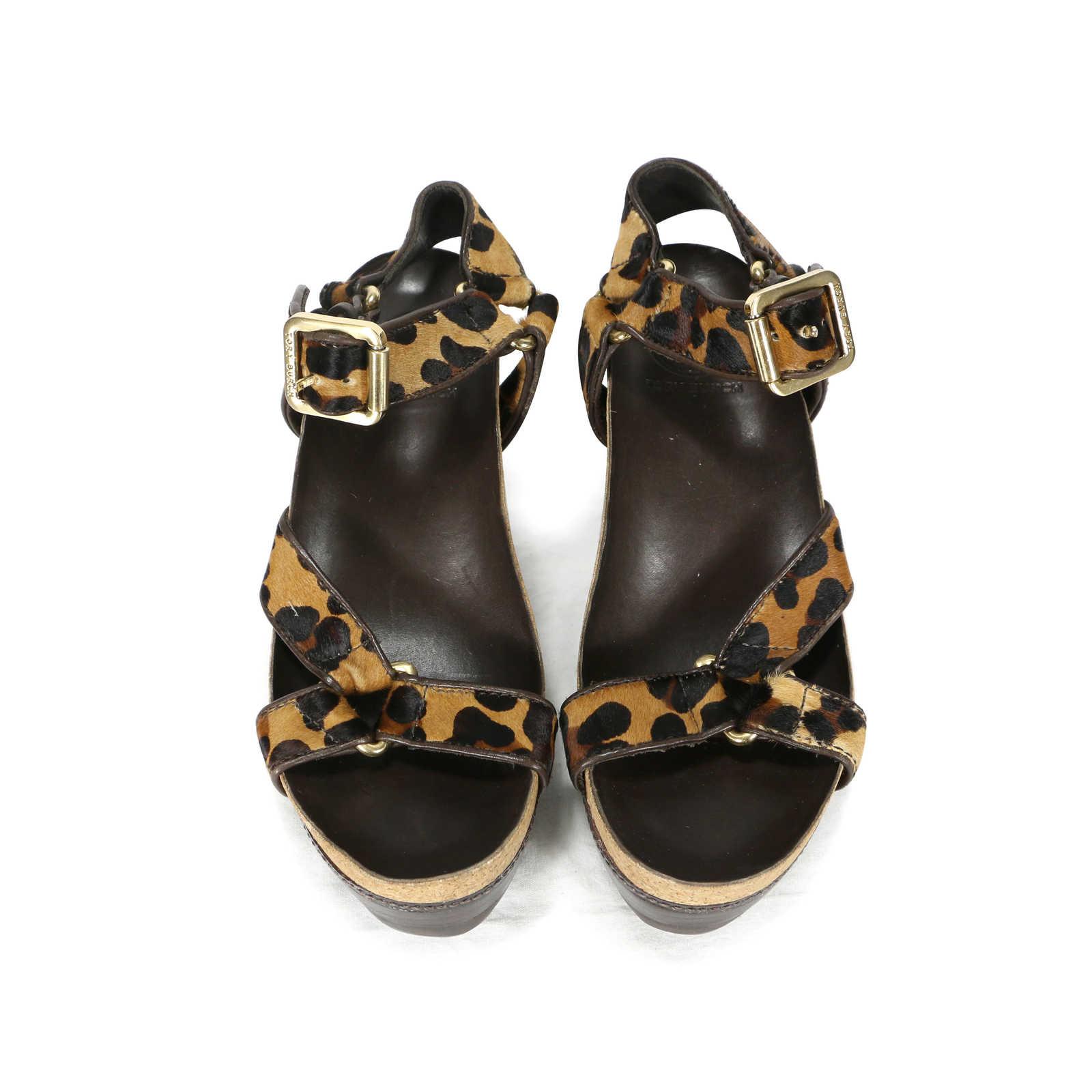 620003341 Authentic Second Hand Tory Burch Brenden Leopard Print Calf Hair Sandals  (PSS-200- ...