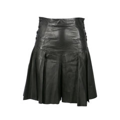 High Waisted Pleated Leather Shorts