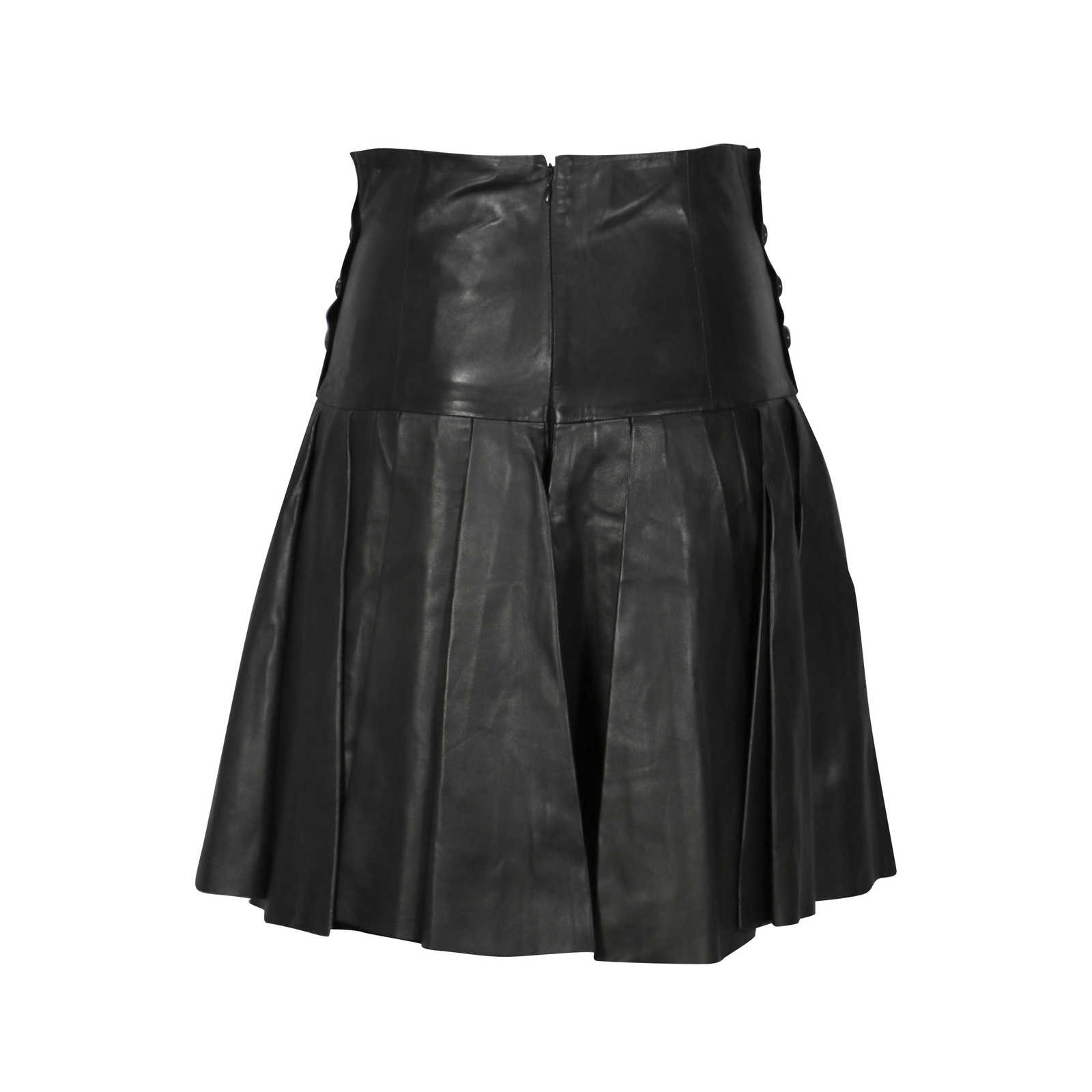 9050cc91f ... Authentic Second Hand Alexander McQueen High Waisted Pleated Leather  Shorts (PSS-200-00177 ...