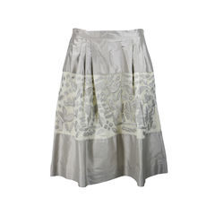 Appliqué Silk Skirt