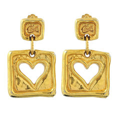 Square Heart Clip Earrings