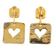 Christian lacroix square heart clip earrings 2