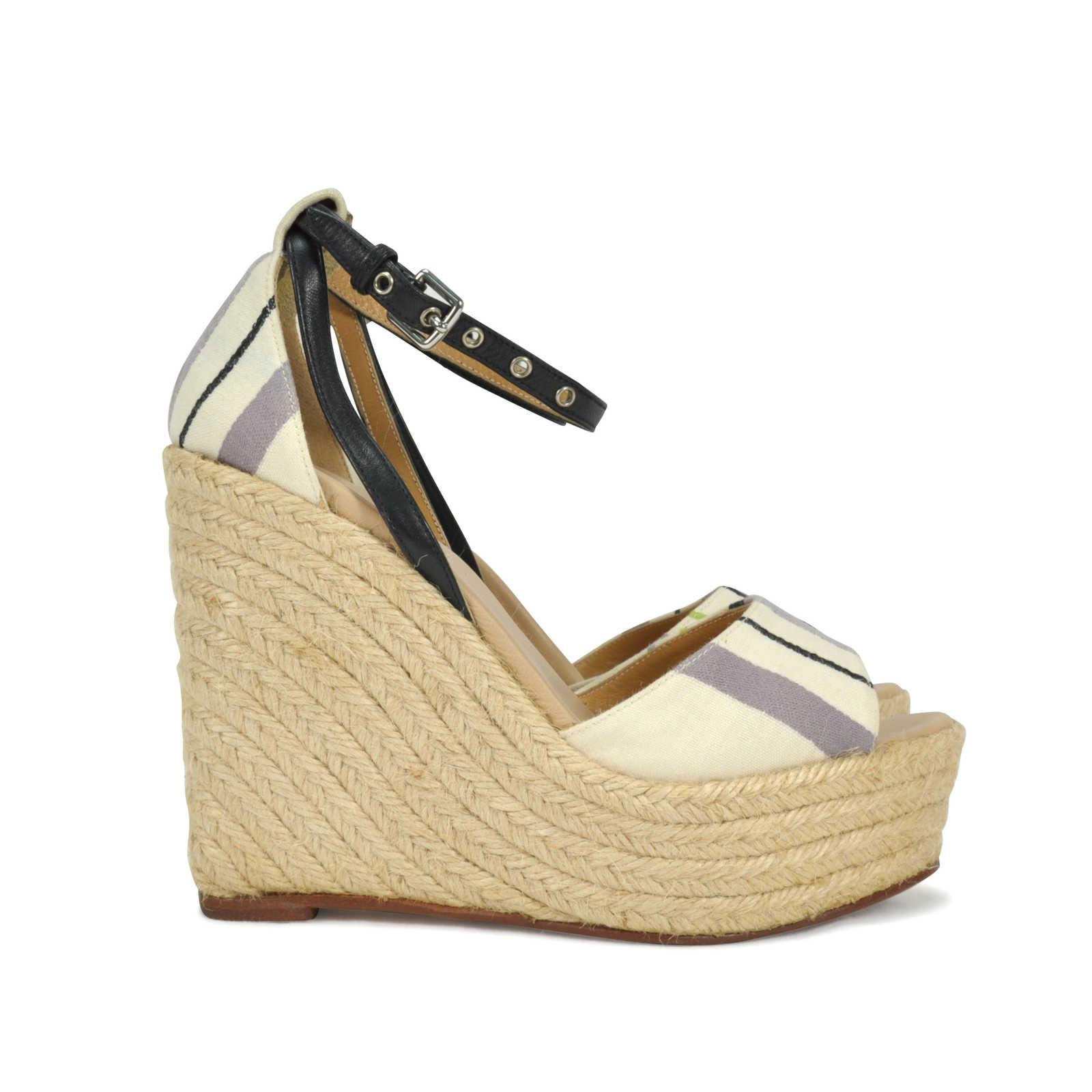 e068b5165471 ... Authentic Second Hand Hermès Fabric Espadrille Wedges (PSS-014-00036) -  Thumbnail ...