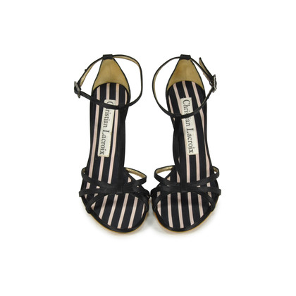 Authentic Second Hand Christian Lacroix Satin T-Front Sandals (PSS-034-00006)