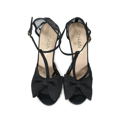Chanel Mesh Peep Toe Ribbon Sandals