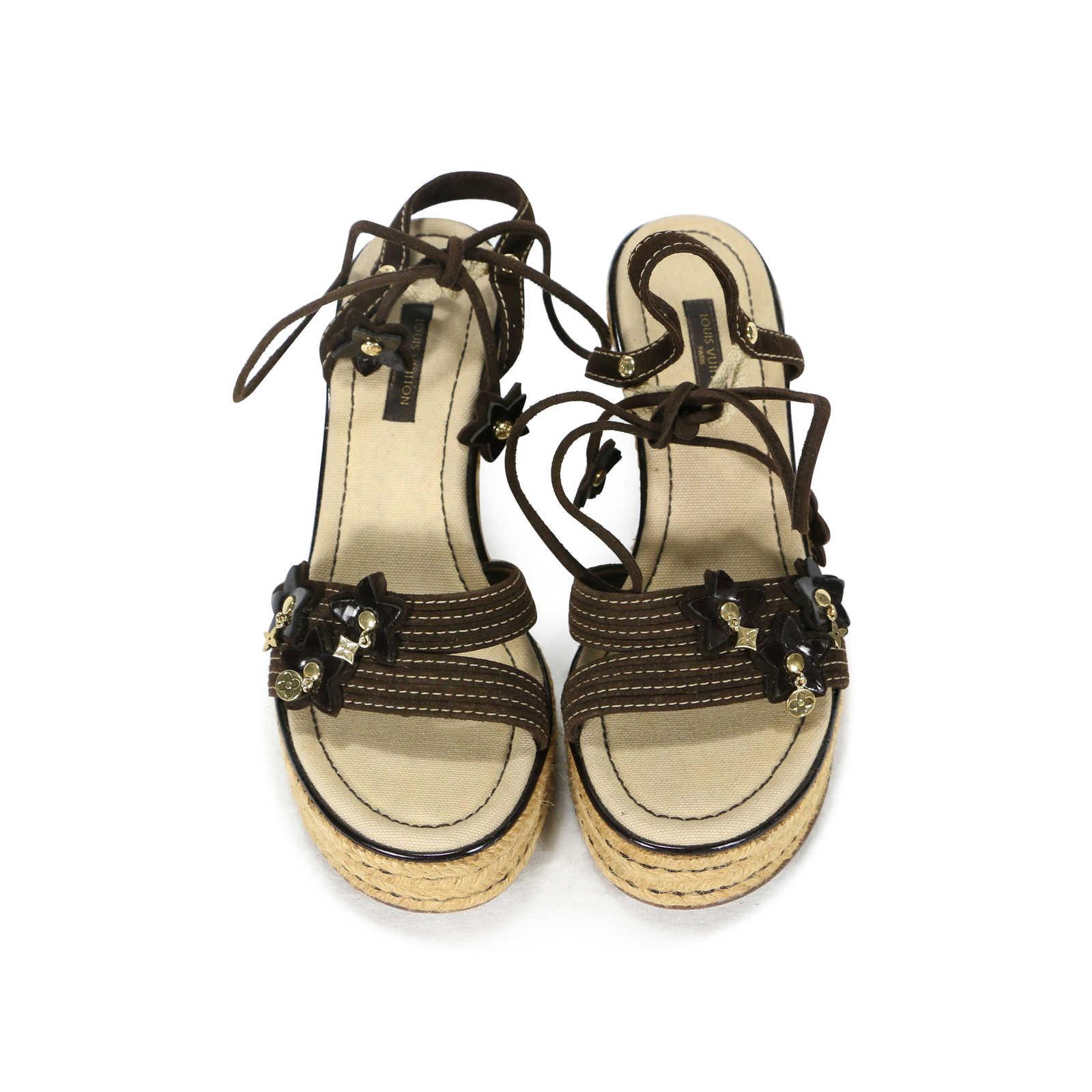 044112ef5c Authentic Second Hand Louis Vuitton Espadrille Wedge Lace Up Sandals  (PSS-200-00216 .