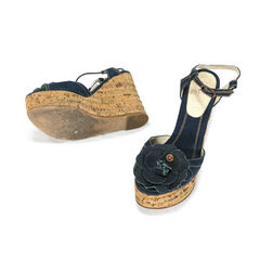 Chanel denim cork wedges 2