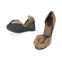 Chanel peep toe flower semi cork wedges 2