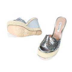 Oscar de la renta laser cut wedge high espadrille sandals 2