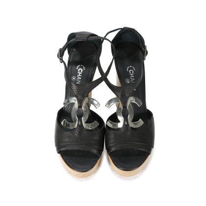 Authentic Second Hand Chanel CC Logo Platform Sandals (PSS-200-00283)