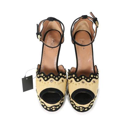 Authentic Second Hand Azzedine Alaïa Studded Rafia Wedge Sandals (PSS-200-00289)