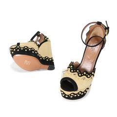 Alaia studded rafia sandal wedge 2