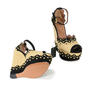 Authentic Second Hand Azzedine Alaïa Studded Rafia Wedge Sandals (PSS-200-00289) - Thumbnail 2