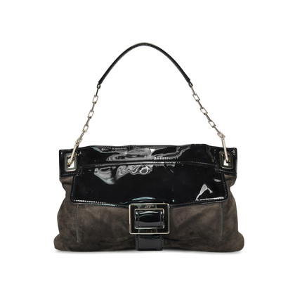 Authentic Second Hand Roger Vivier Suede and Patent Shoulder Bag (PSS-276-00003)