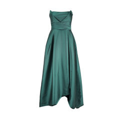 Green Origami Pleated Gown