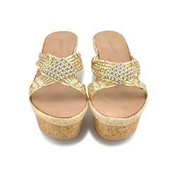 Weaved Gold Sandals/