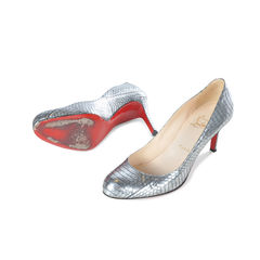 Christian louboutin silver python simple pumps 2