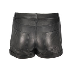 Rizda washed leather shorts 2