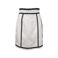Contrast Trim Brocade Skirt