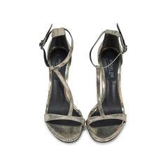 T-Strap Snakeskin Embossed Sandals