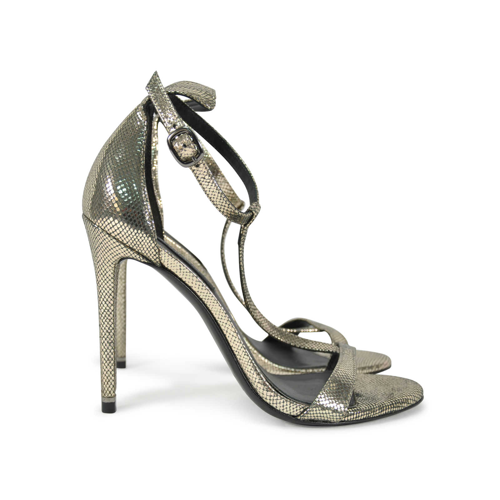 21d970c9d34b ... Authentic Second Hand Rachel Zoe T-Strap Snakeskin Embossed Sandals  (PSS-289- ...