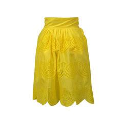 Tibi yellow perforated skirt 2