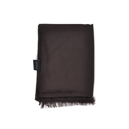 Gucci Monogram Wool Blend Stole Brown
