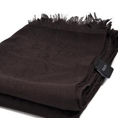 Gucci monogram wool blend scarf brown 2