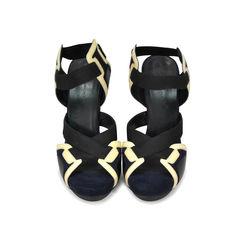 Patent Suede Elastic Detail Sandal