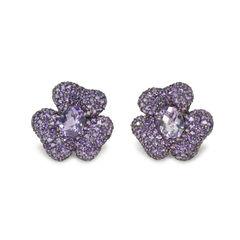 Purple Embellished Flower Earrings