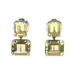 Yellow Rectangular Crystal Earrings