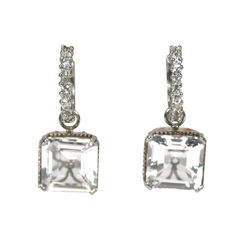 Clear Crystal Square Earrings