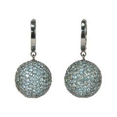 Light Blue Sphere Crystal Earrings