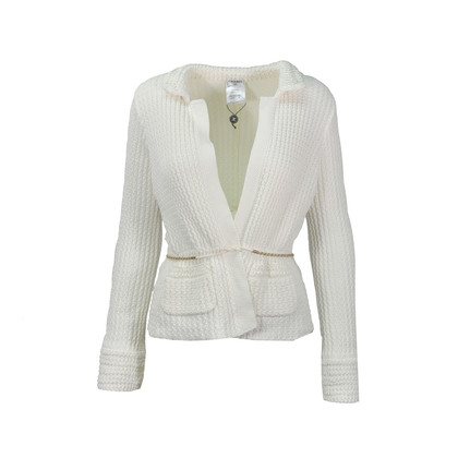 Chanel White Ribbed Knit Jacket
