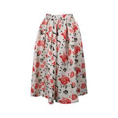 Printed Silk-Wool Princess Skirt