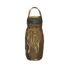 Vera wang lavender label by vera wang gold silk halter neck dress 5