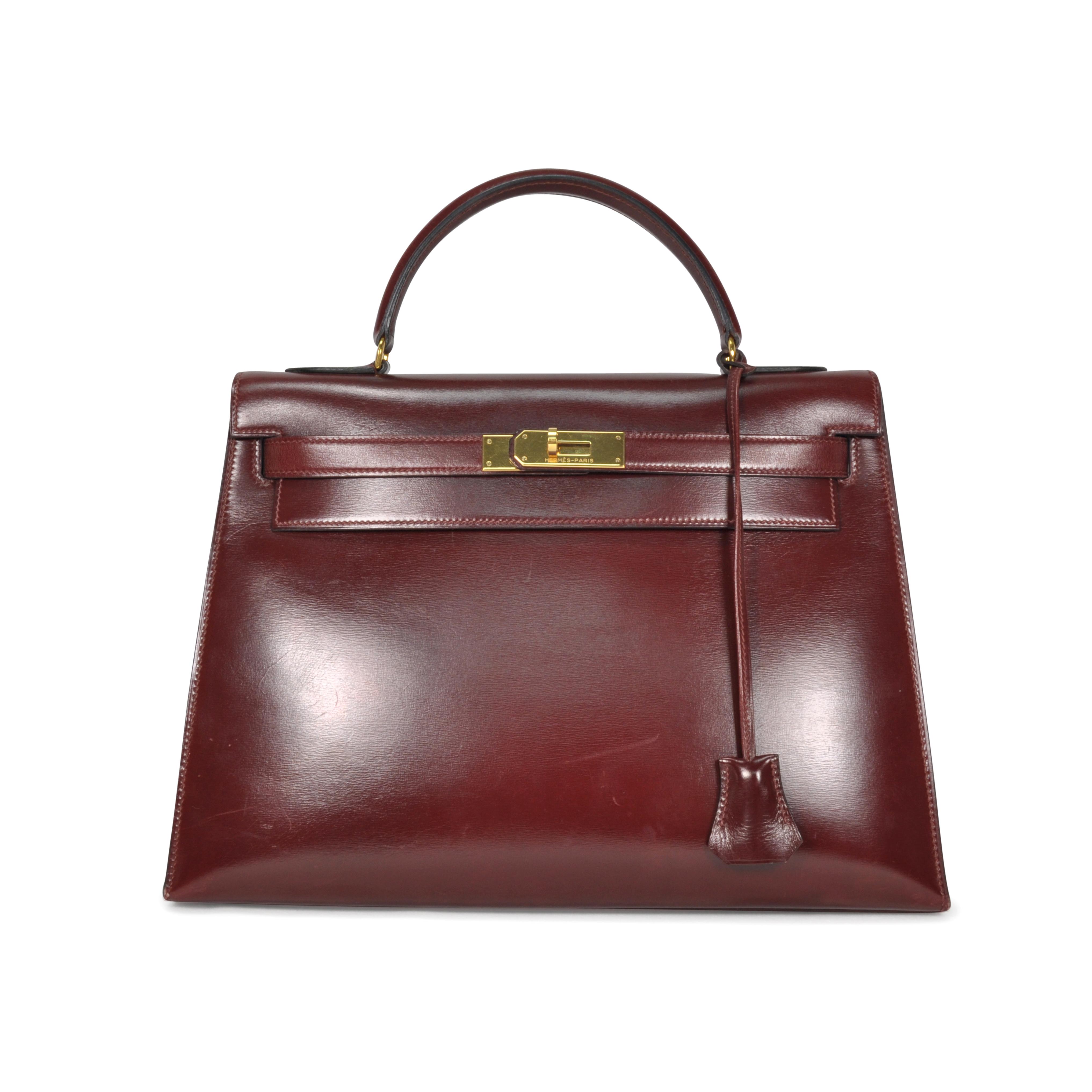 31c7b42a3b4f Authentic Vintage Hermès Burgundy Box Kelly 32 (TFC-107-00036)