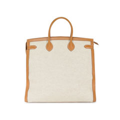 Hermes toile and vache natural weekend bag 2
