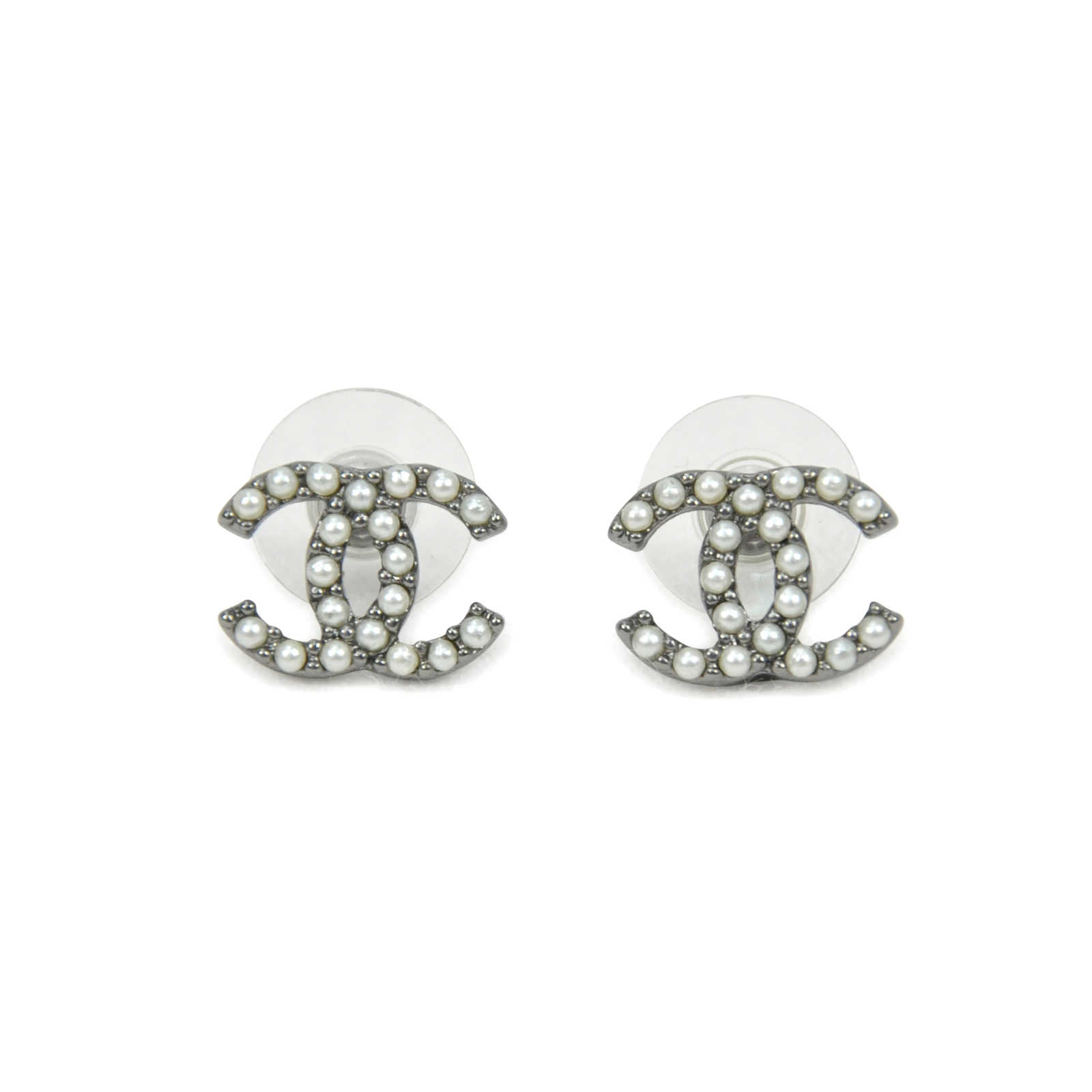 Authentic Second Hand Chanel Pearl Logo Stud Earrings Pss
