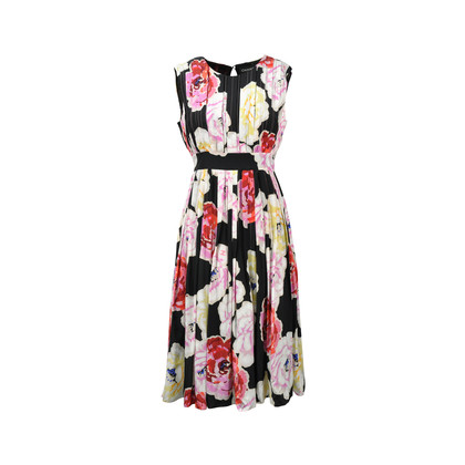 Chanel Pin Tuck Floral Dress