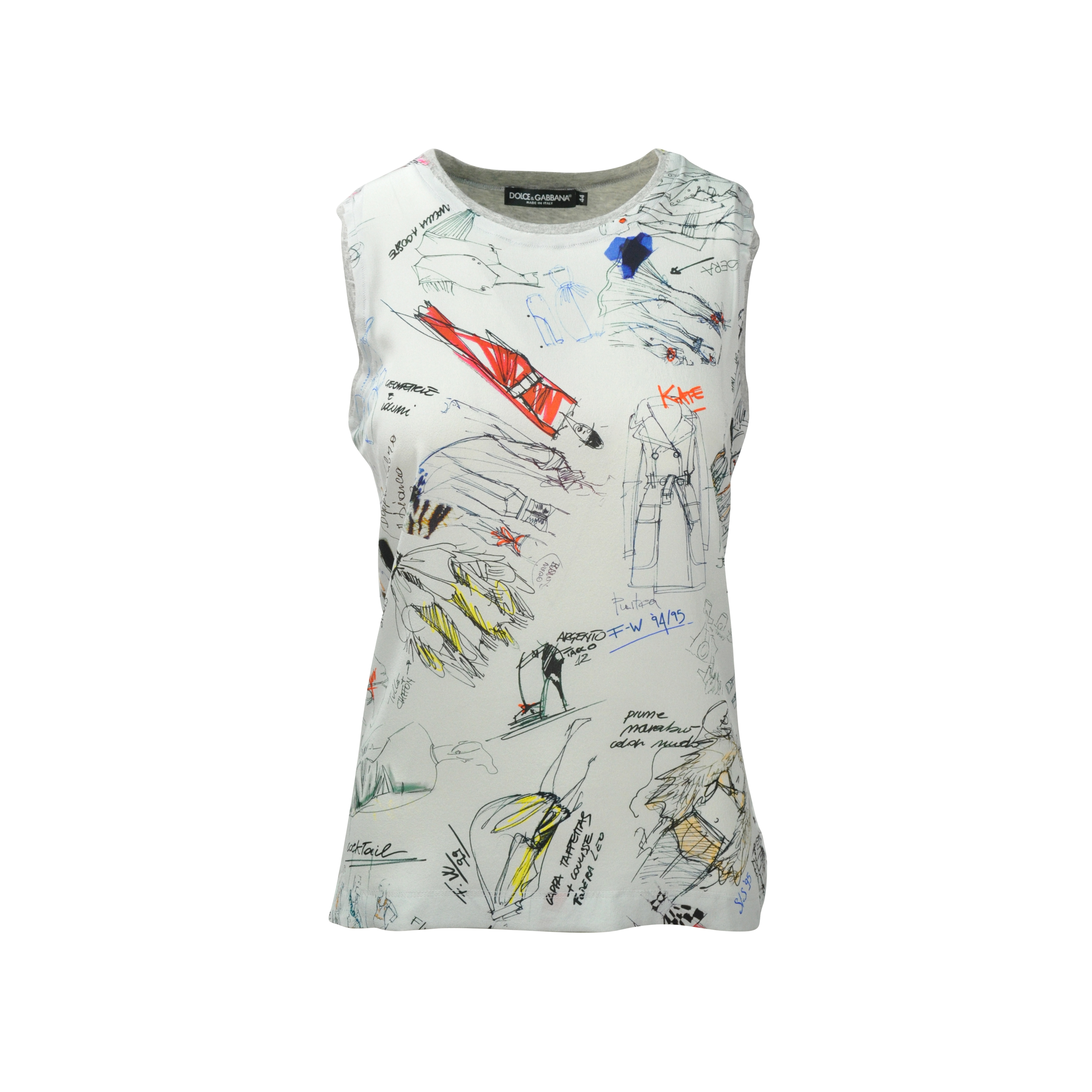 4cccc6c9 Authentic Second Hand Dolce & Gabbana Sketch Print Silk t-Shirt  (PSS-080-00088) - THE FIFTH COLLECTION
