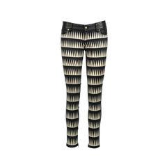 Geometric Print Leather Pants