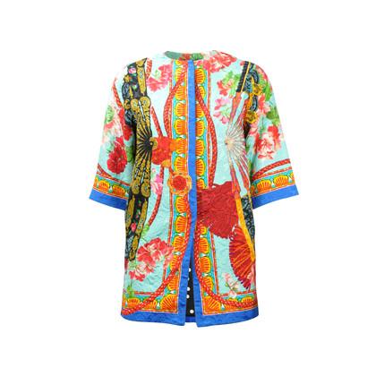Dolce And Gabbana Fan Print Motif Overcoat