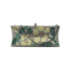 Flower crystal motif clutch