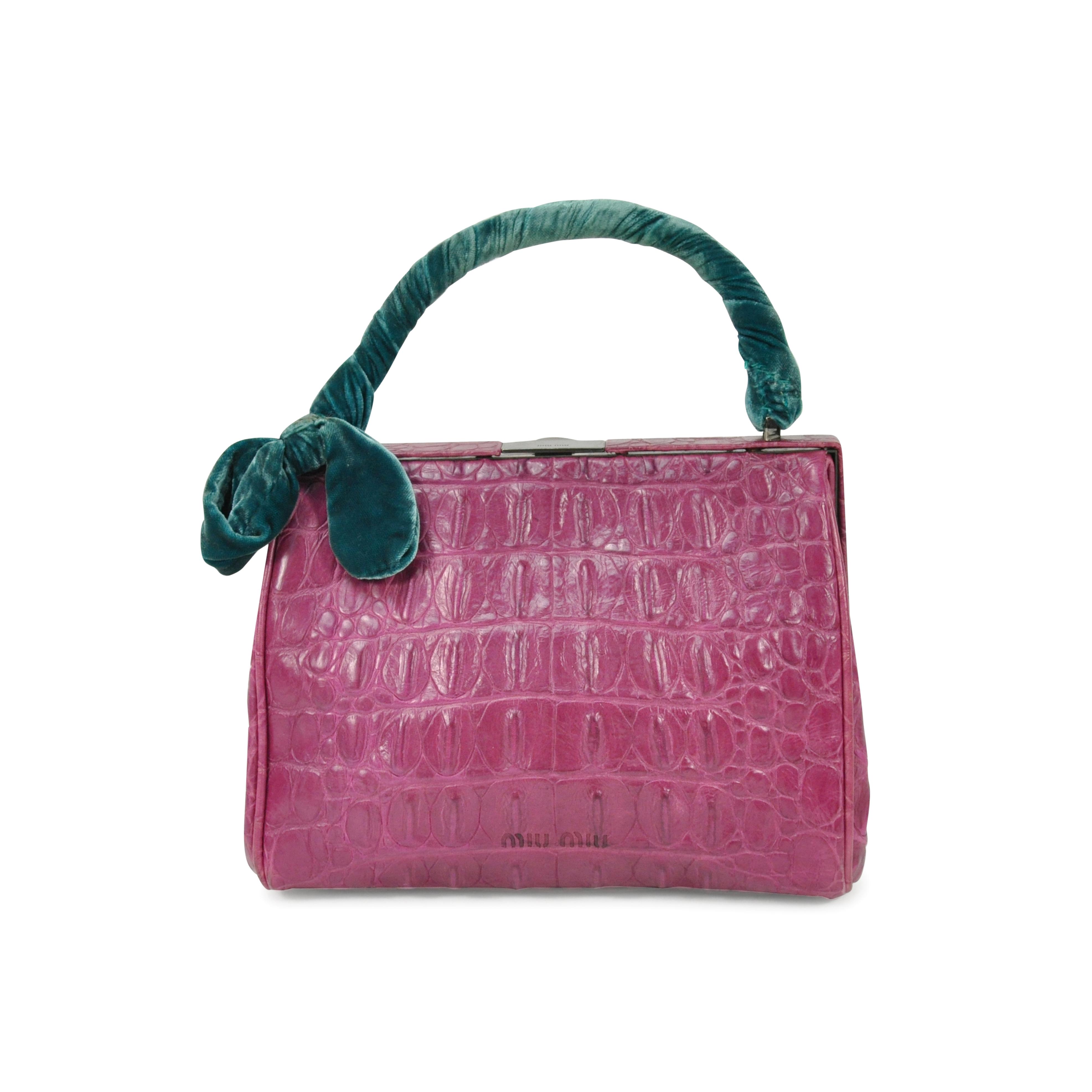 55b59b1b63f5 Authentic Second Hand Miu Miu Velvet Handle Crocodile Handbag  (PSS-304-00021)